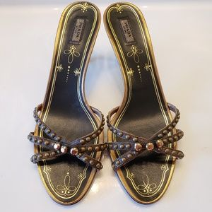 Prada Studded Heeled Sandals
